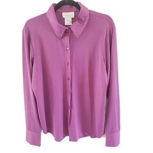 Susan Graver Women's Button Down Front Shirt Blous